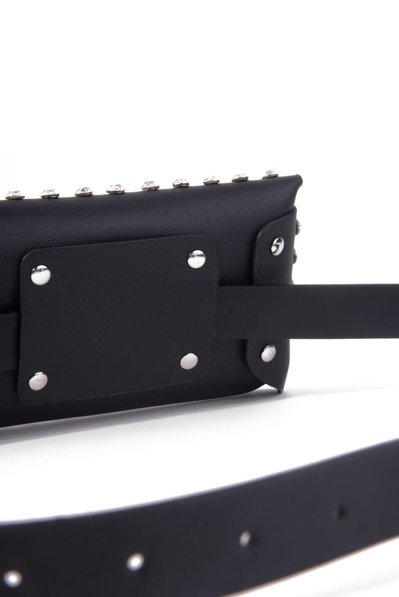STUDDED FASHION BELT BAG-BLACK