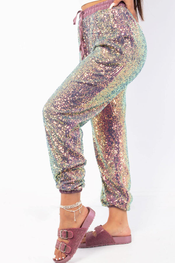 LORETTA SEQUIN PANTS-PURPLE