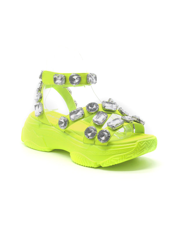 STATEMENT RHINESTONE JEWEL FLAT SNEAKER SANDAL-LIME