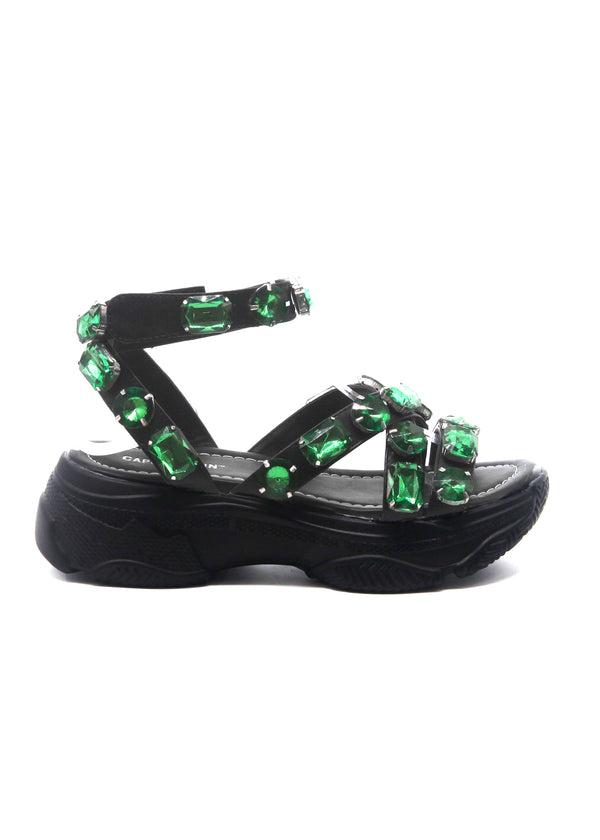 STATEMENT RHINESTONE JEWEL FLAT SNEAKER SANDAL-BLACK