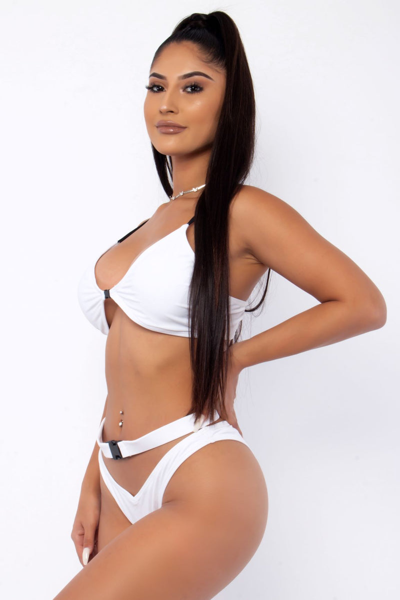 MOTOR SPORT TWO PIECE BIKINI-WHITE