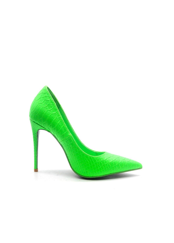 DIXIE STILETTO HIGH SLIP ON POINTED TOE PUMPS-GREEN