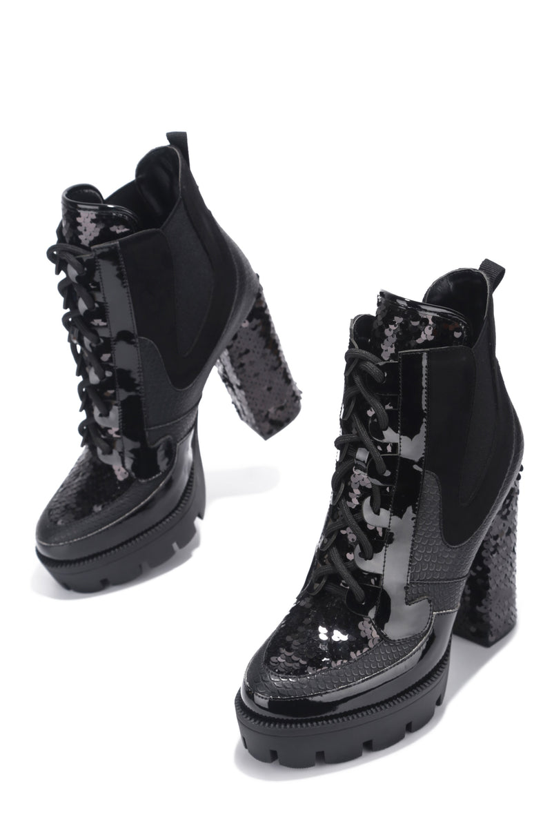 NELL CHUNKY BLOCK HIGH HEEL PLATFORM LACE UP BOOTS-BLACK - FlashyBox