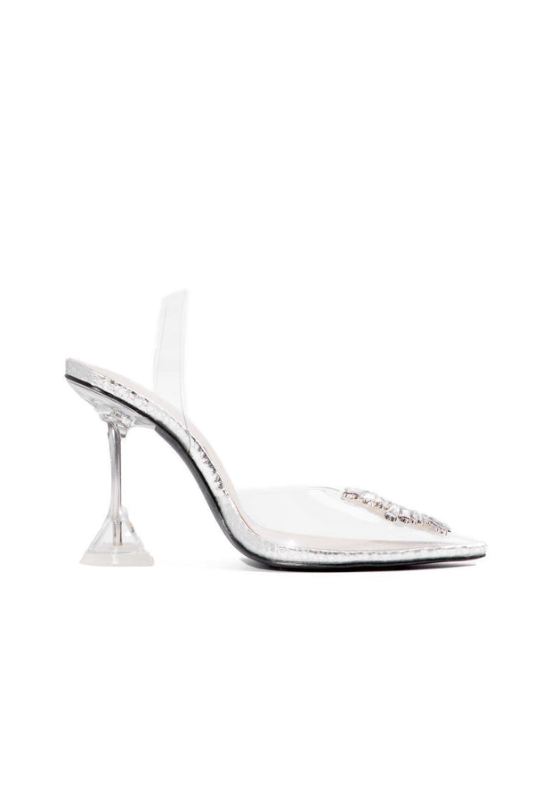 GLASSY POP LIFE FANCY SEXY HEELS-SILVER