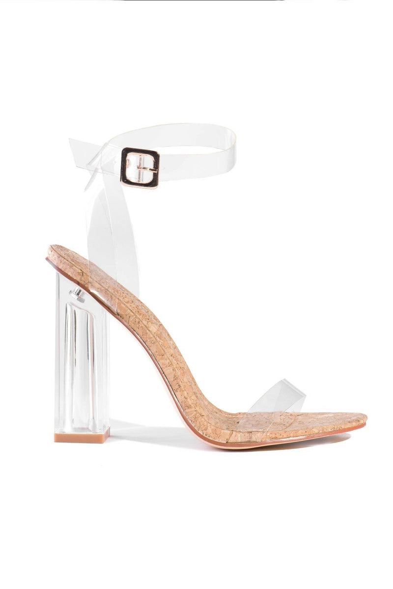 MARIA-2 CLEAR BLOCK HEEL TRANSPARENT ANKLE STRAP SANDAL-CORK - FlashyBox