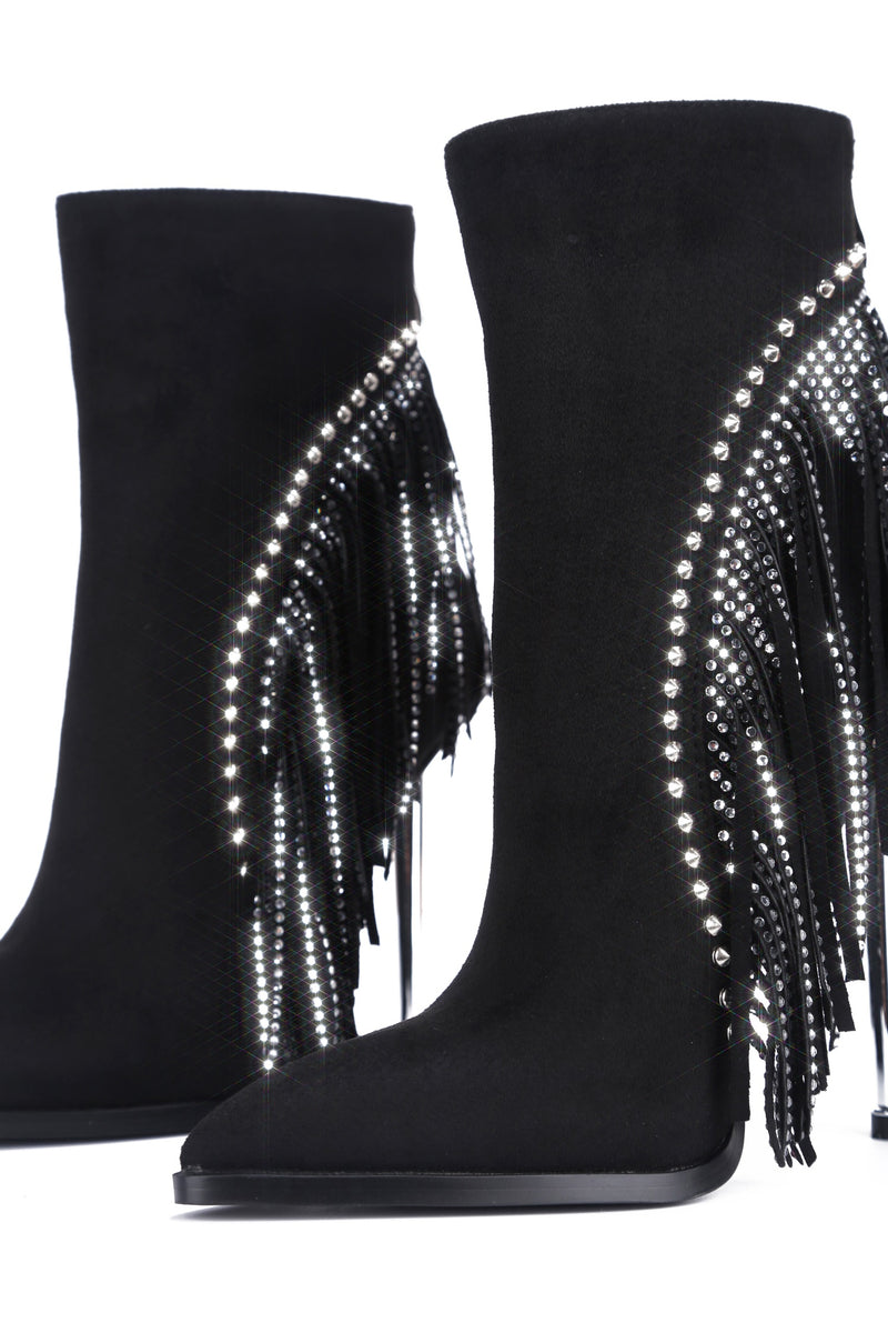EDIE CRYSTAL BOOTIE-BLACK