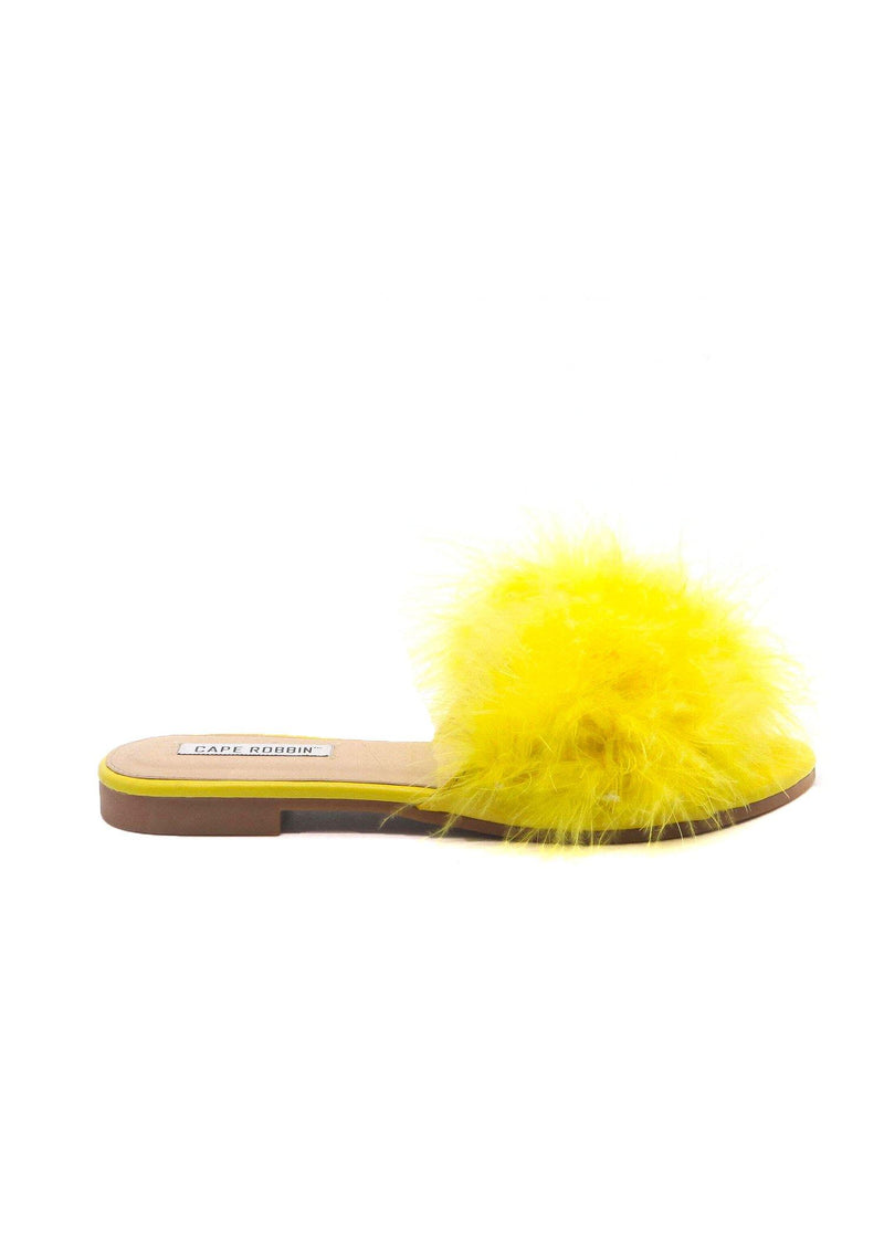 SANDAL 1 FLUFFY FUR FEATHER FLAT SLIP ON SLIDE SANDALS-YELLOW