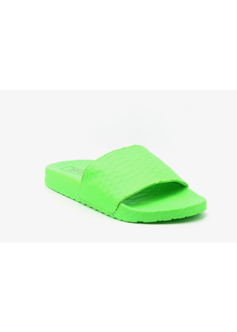 SUPER SNAKE SLIP ON SLIDE FLAT SANDALS-GREEN