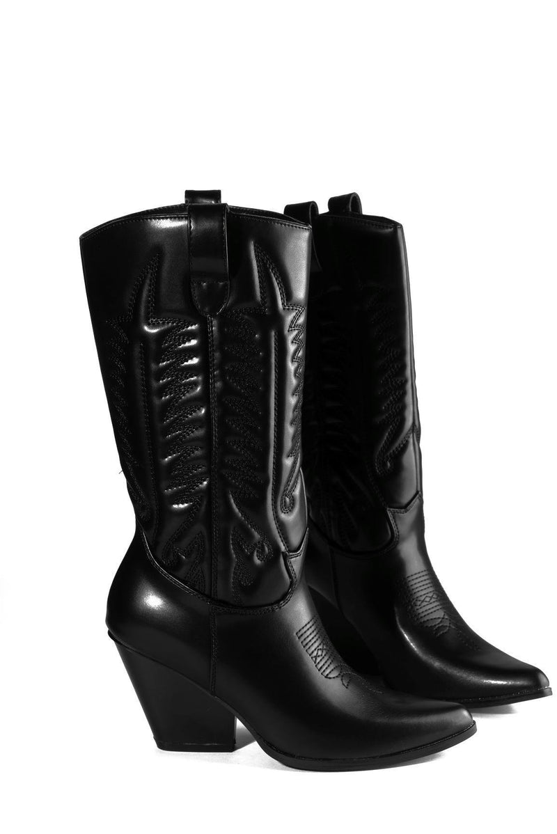 SOUTHERN BELLE WESTERN BLOCK STACKED HEEL BOOTS-BLACK