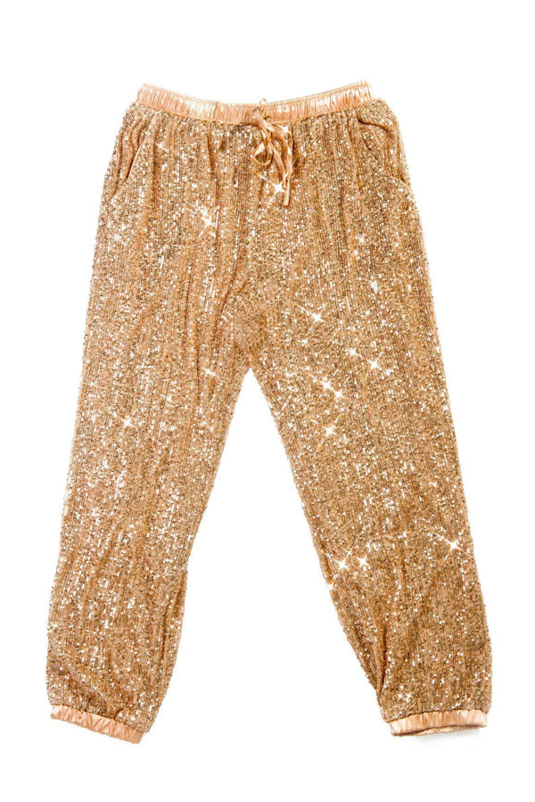 LORETTA TALK SPARKLE TO ME SEQUIN JOGGERS PANTS-ROSE GOLD