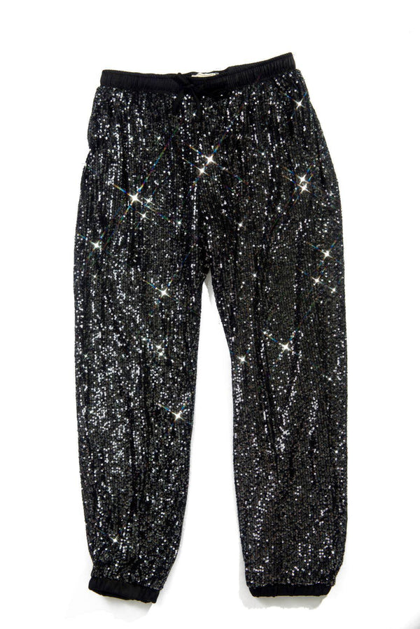 LORETTA TALK SPARKLE TO ME SEQUIN JOGGERS PANTS-BLACK