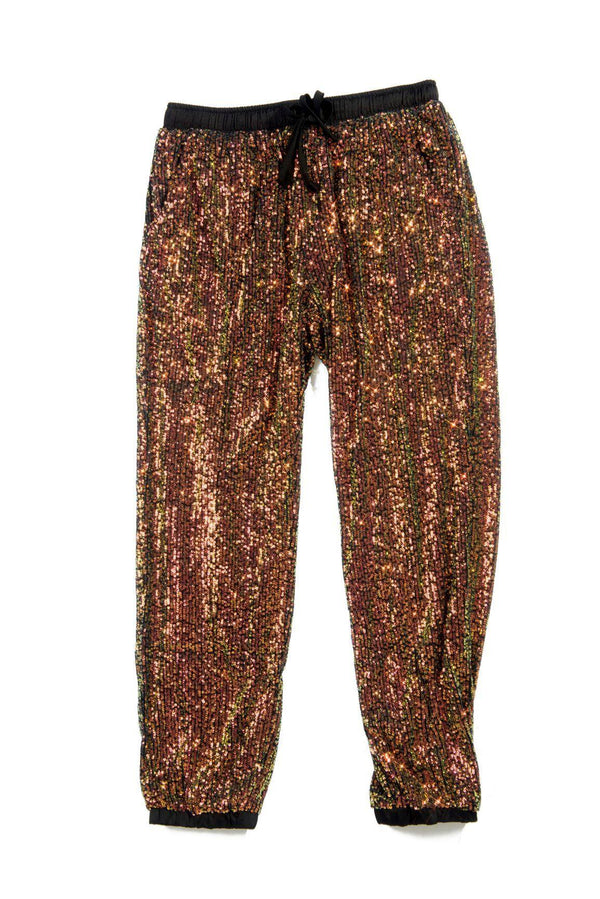 LORETTA TALK SPARKLE TO ME SEQUIN JOGGERS PANTS-ANTIQUE BLACK