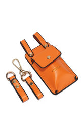 STREET DREAMS LEATHER BELT WALLET SET-ORANGE