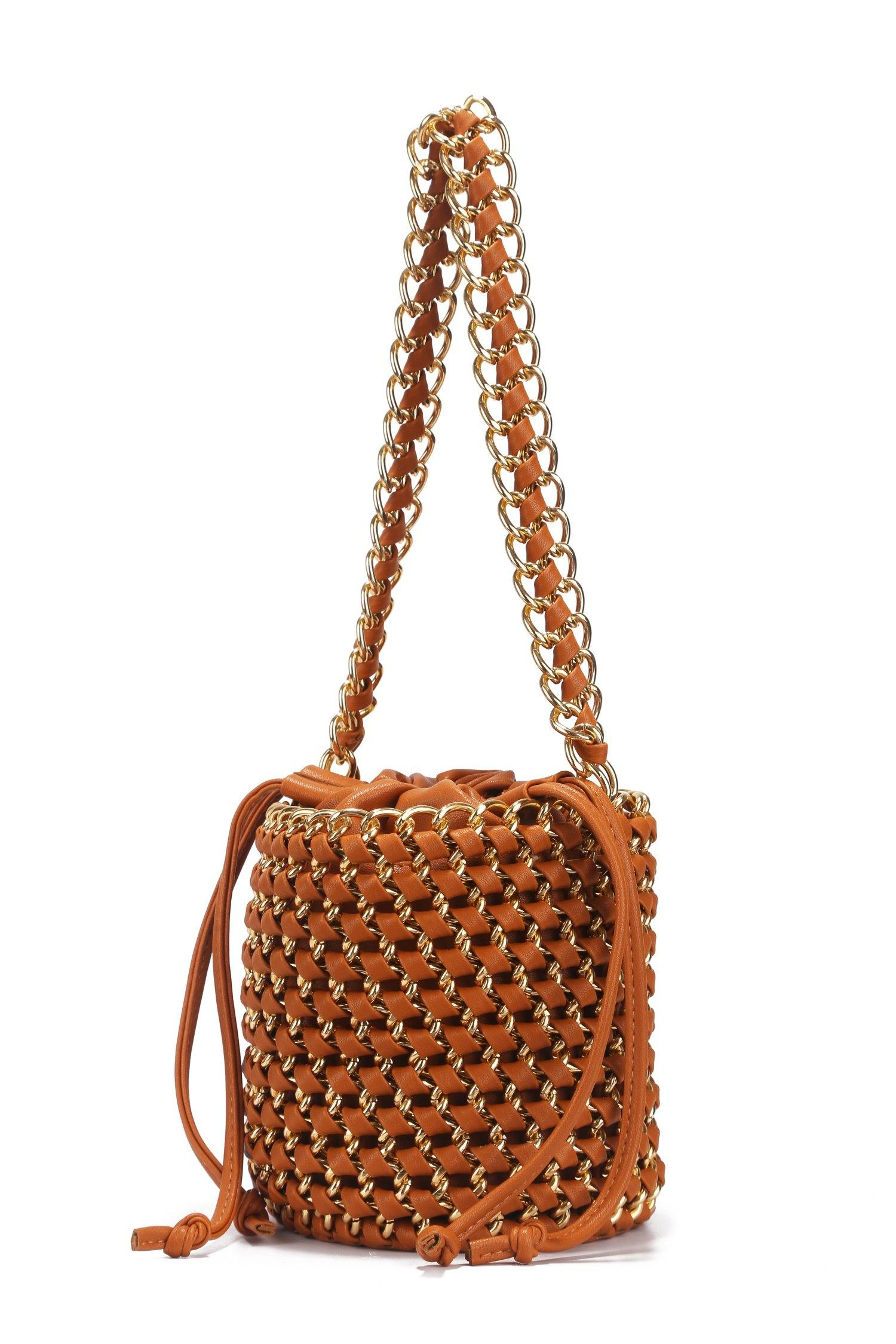 ON AN ADVENTURE BUCKET BAG-BROWN