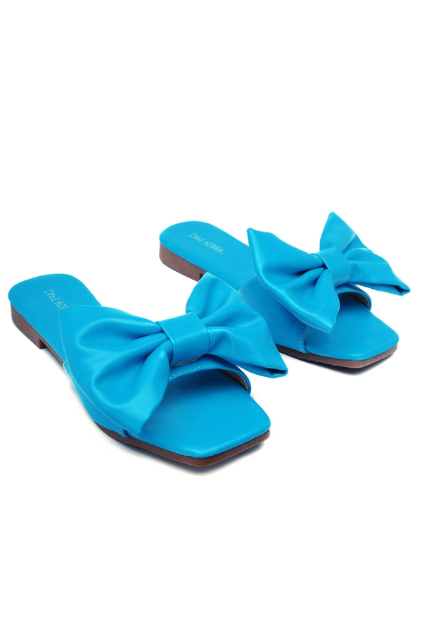 JUJU THAT BOW THOUGH BOW SLIDE SANDAL-BLUE