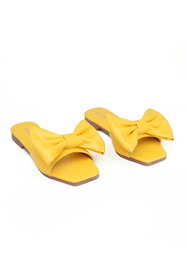 JUJU THAT BOW THOUGH BOW SLIDE SANDAL-YELLOW