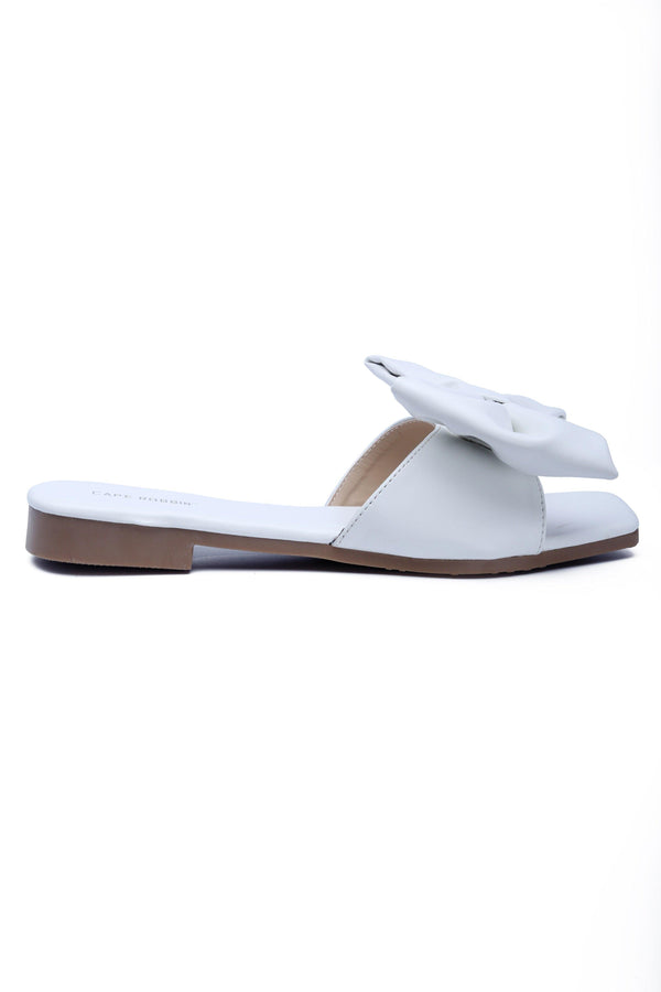 JUJU THAT BOW THOUGH BOW SLIDE SANDAL-WHITE