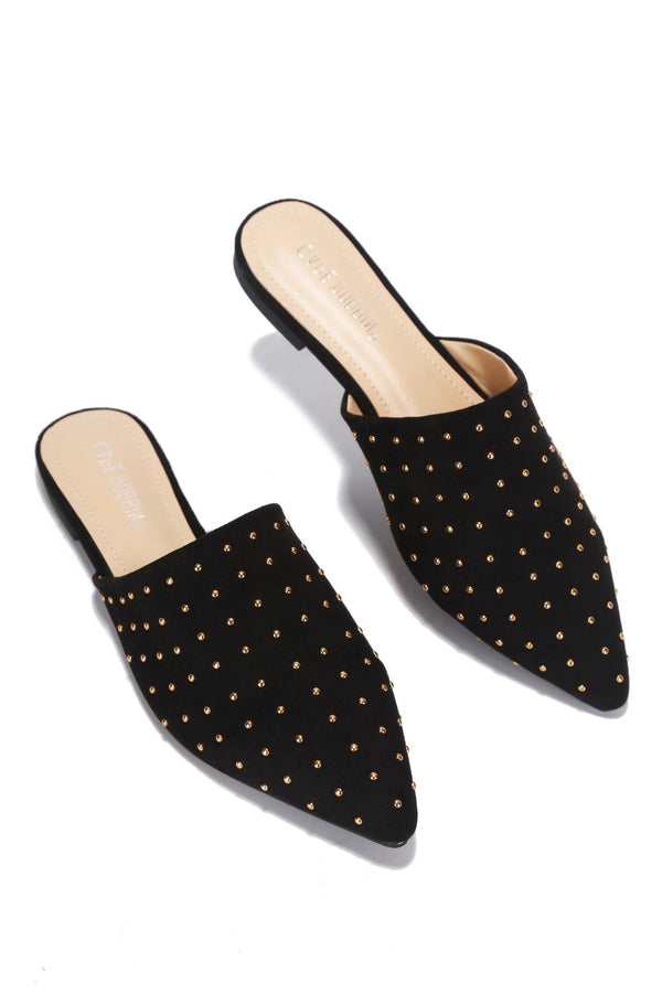 YVETTE SLIDE ON  MULE WITH STUDS-BLACK - FlashyBox