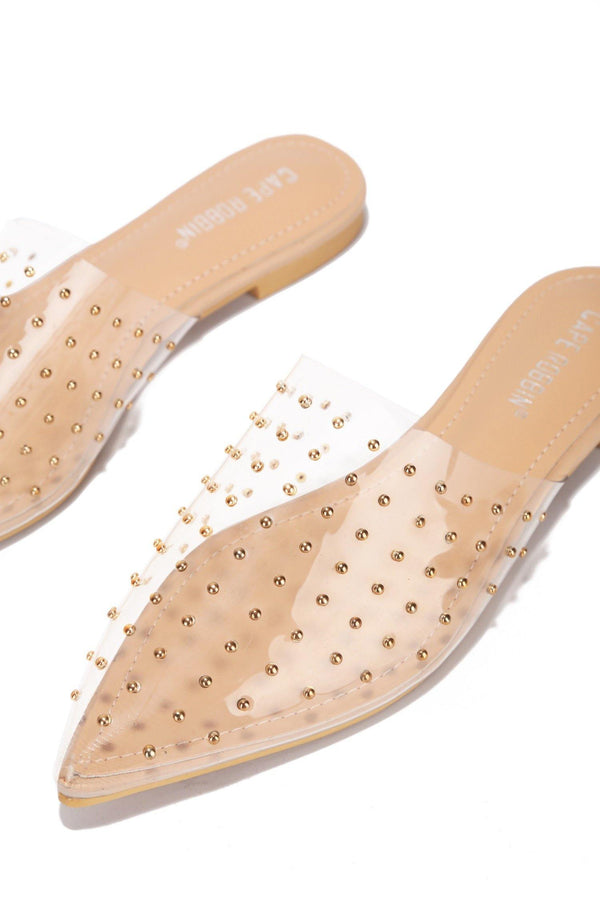 YVETTE SLIDE ON  MULE WITH STUDS-CLEAR