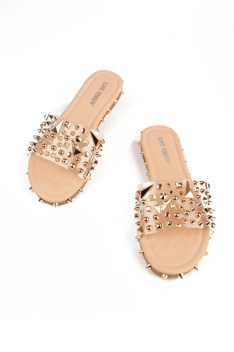 INCLINATION STUDDED CLEAR SLID ON SANDAL-NUDE