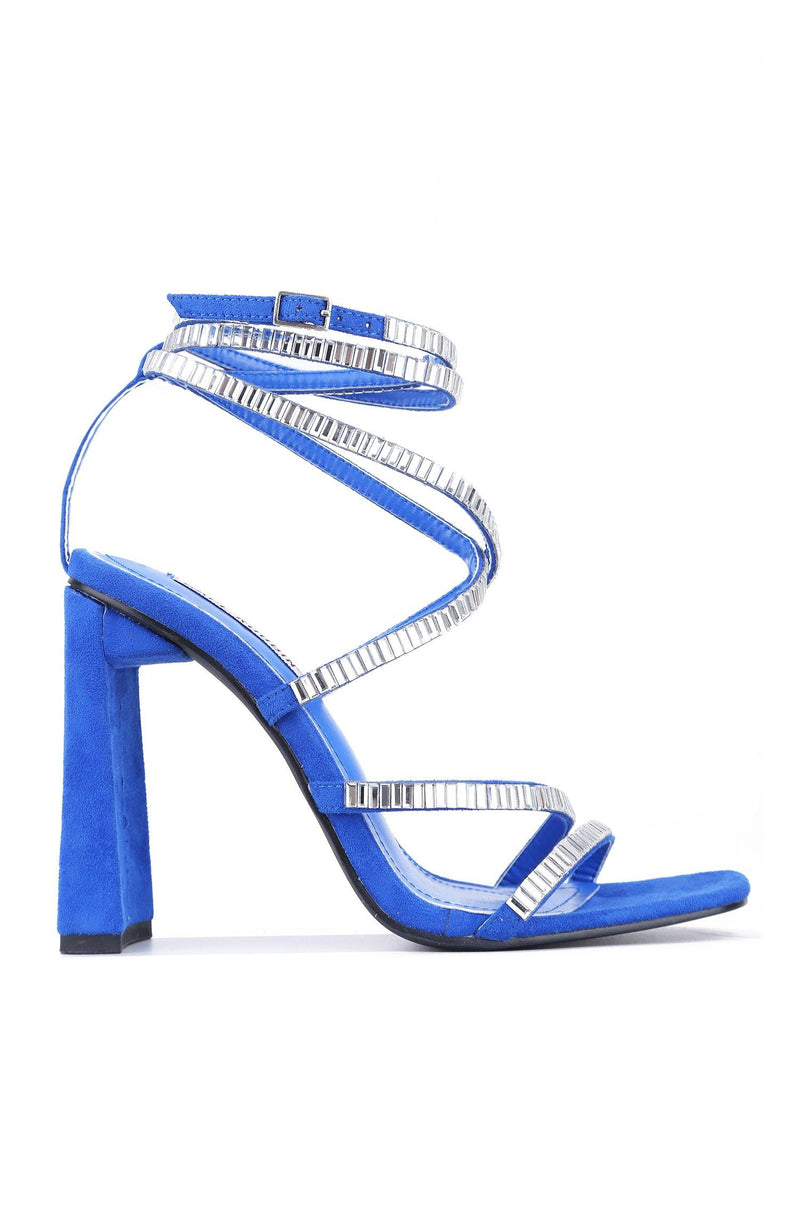 COREA RHINESTONE STRAPPY BLOCK HIGH HEEL SANDAL-BLUE