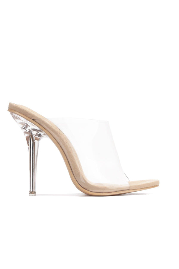 ALLURE TRANSPARENT CLEAR STILETTO HIGH HEEL SLIDE SANDAL-NUDE