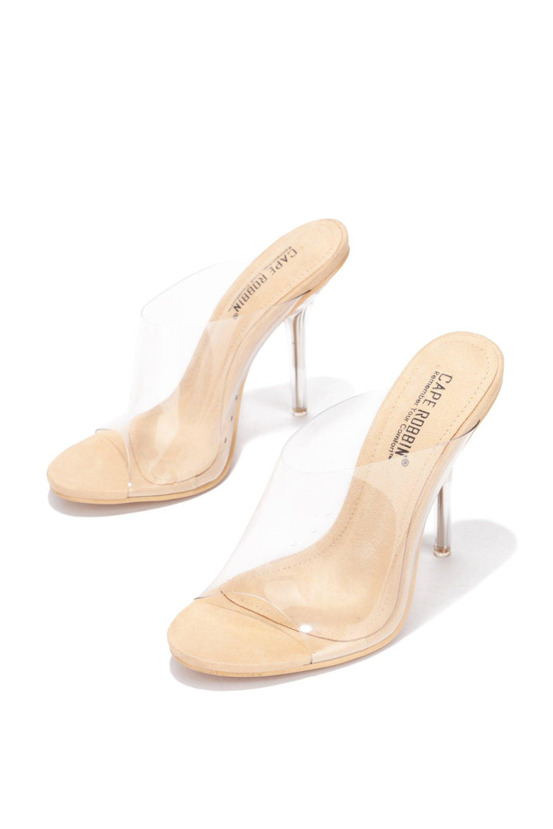 ALLURE TRANSPARENT CLEAR STILETTO HIGH HEEL SLIDE SANDAL-NUDE - FlashyBox