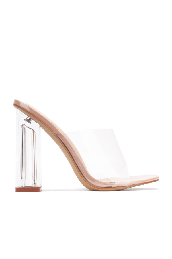 FUSION TRANSPARENT CLEAR CHUNKY BLOCK HIGH HEEL SANDAL-NUDE
