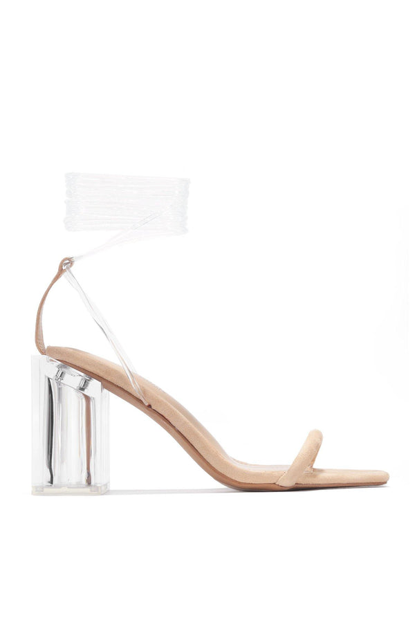LETS TIE STRAPPY CLEAR CHUNKY HEEL SANDAL-NUDE - FlashyBox