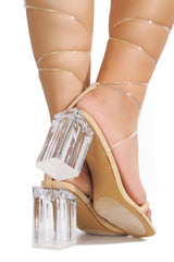 LETS TIE STRAPPY CLEAR CHUNKY HEEL SANDAL-NUDE