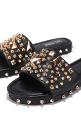 TONIE STUD SPIKE FLAT OPEN TOE SLIP ON SLIDE SANDAL- BLACK