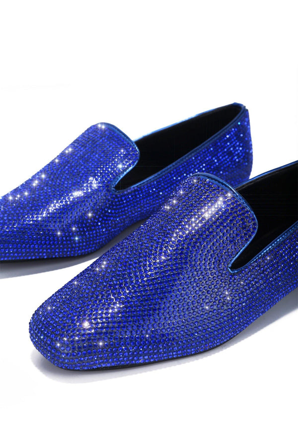 LOVERLI RHINESTONE LOAFER-BLUE - FlashyBox