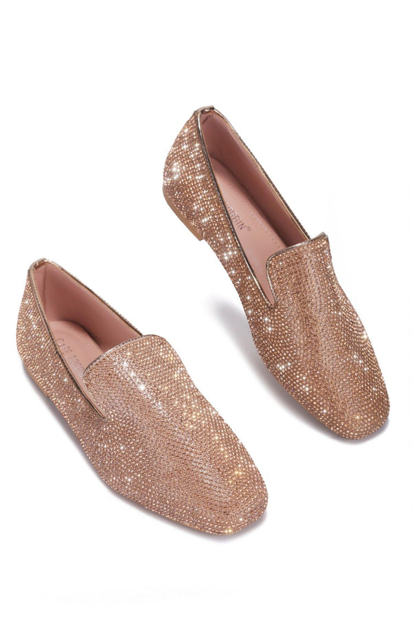 LOVERLI RHINESTONE LOAFER-ROSE GOLD - FlashyBox