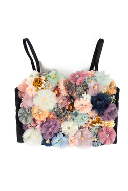 FLOWERS OF MINE FLORAL CROP TOP-BLACK