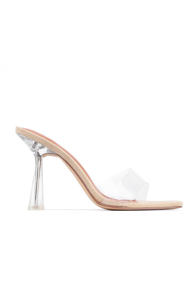 POLLINI ON THE MOVE SLIP-ON OPEN TOE HEELS-NUDE