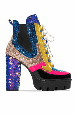 NELL CHUNKY BLOCK HIGH HEEL PLATFORM LACE UP BOOTS-MERMAID