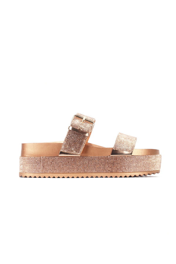 PRAISE SAVING MY LOVE FOR YOU RHINESTONE SANDAL-ROSE GOLD