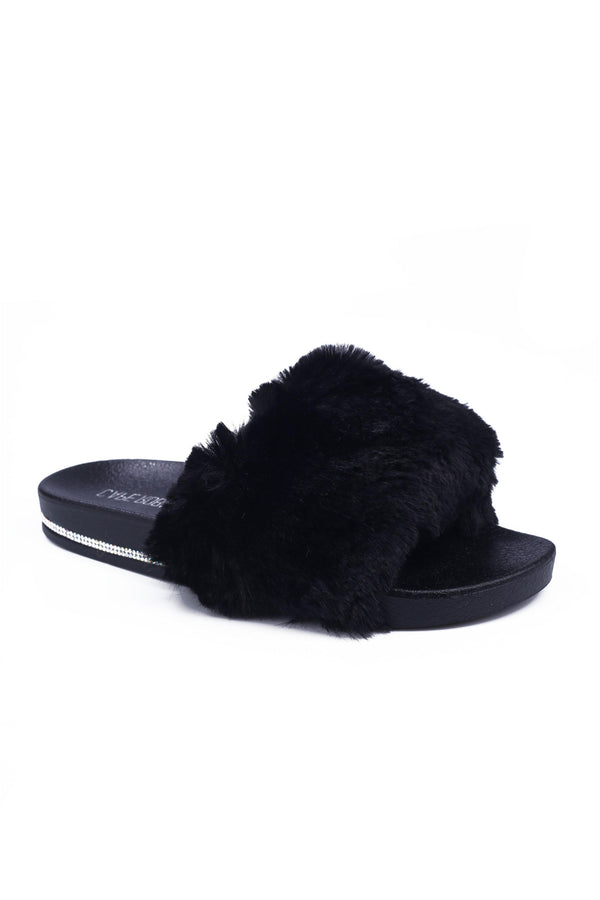 BOO VOGUE THE HOUSE SOFT FUR SLIDES-BLACK