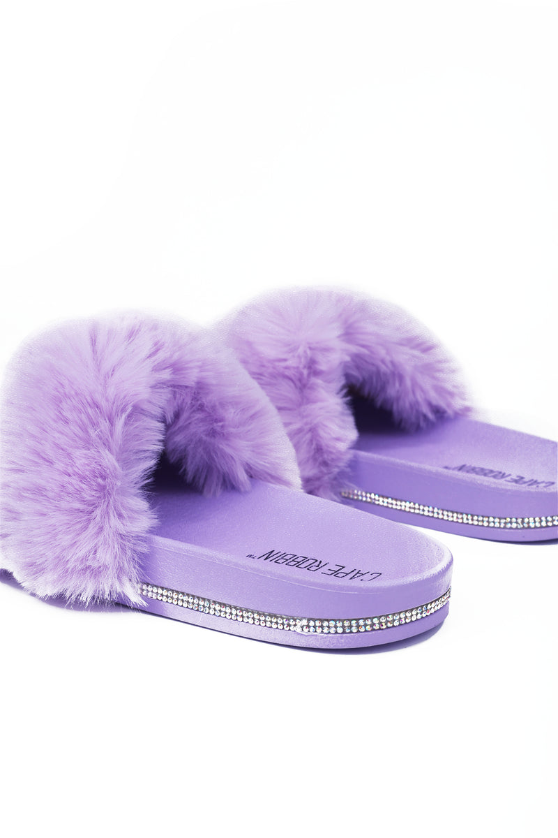 BOO VOGUE THE HOUSE SOFT FUR SLIDES-LILAC