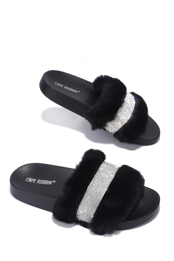 CASSETTE WEEKEND READY RHINESTONE FUR SANDAL-BLACK