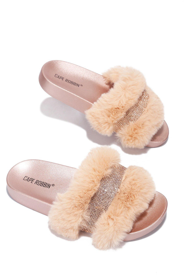 CASSETTE WEEKEND READY RHINESTONE FUR SANDAL-ROSE GOLD