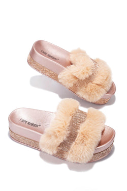 COLUMBIA SWEET HAVEN FUR SANDAL-ROSE GOLD