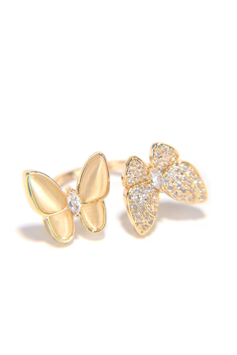 DUO FLY BUTTERFLY SEASON RHINESTONE RING-GOLD