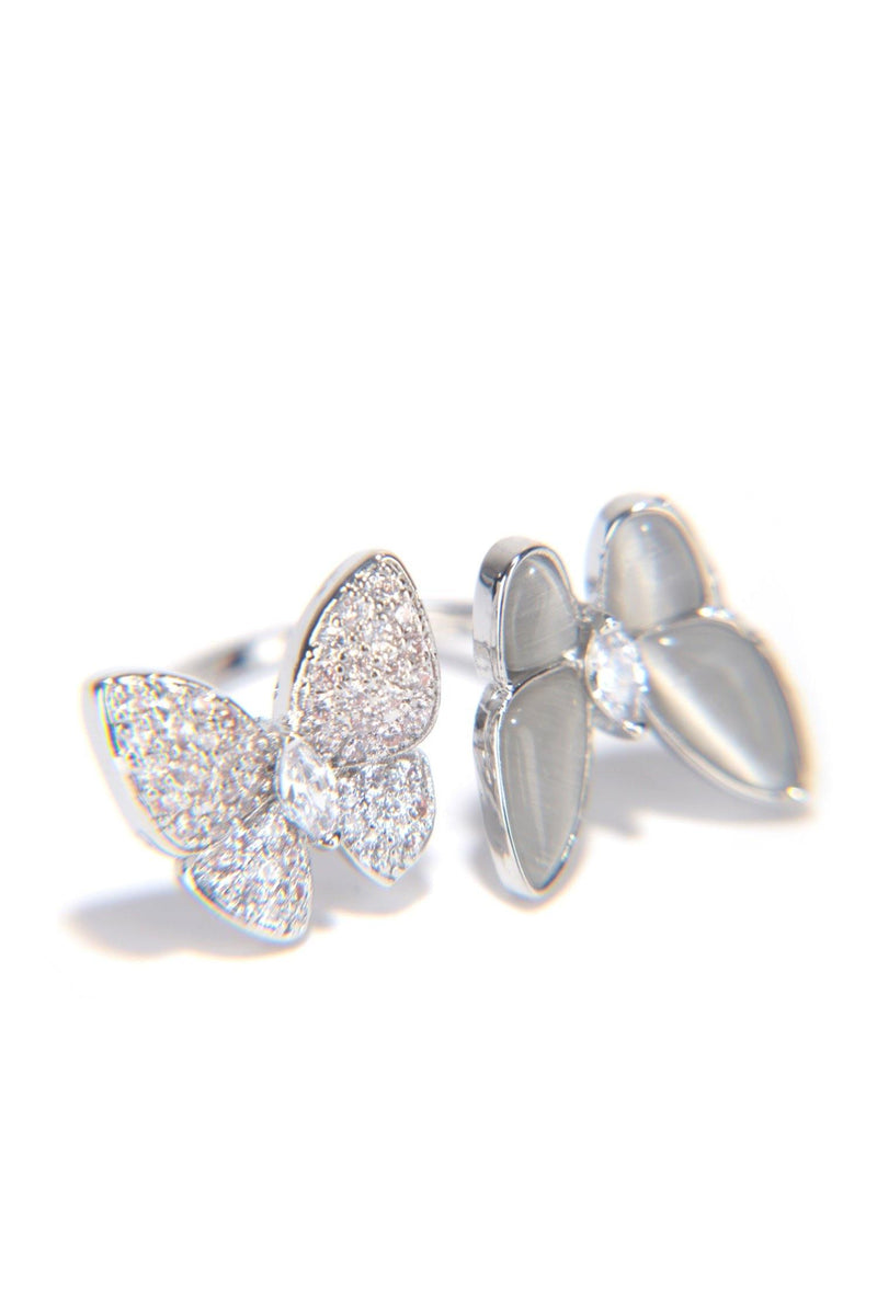 DUO FLY BUTTERFLY SEASON RHINESTONE RING-SILVER