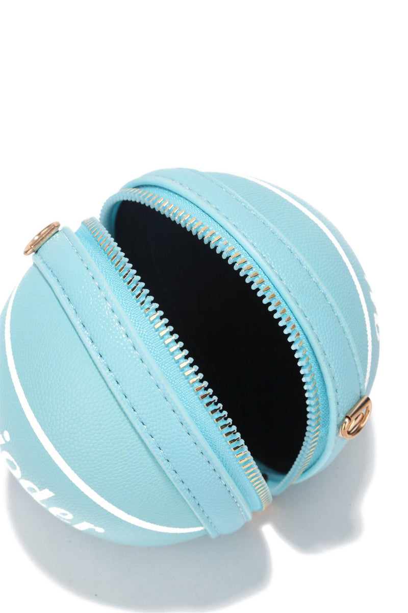 MINI BALLER BASKETBALL SHAPED CLUTCH-BLUE