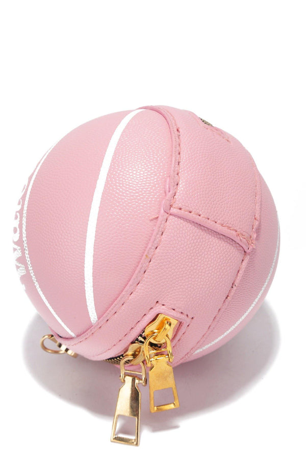 MINI BALLER BASKETBALL SHAPED CLUTCH-PINK