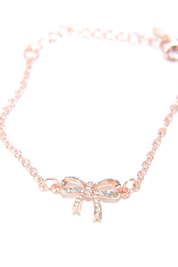 DIAMOND BOWTIE NECKLACE-ROSE GOLD