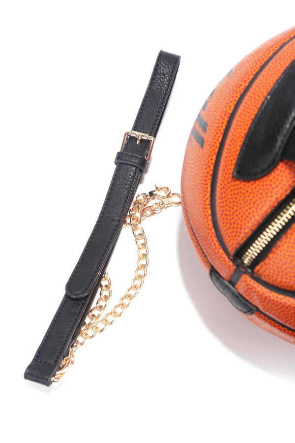 YOUR TURN BASKETBALL SPHERE CLUTCH BAG-BROWN