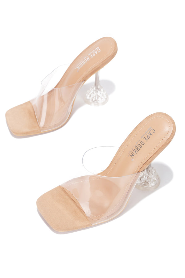 AHMEE SAYING HELLO CLEAR HEEL MULE-NUDE