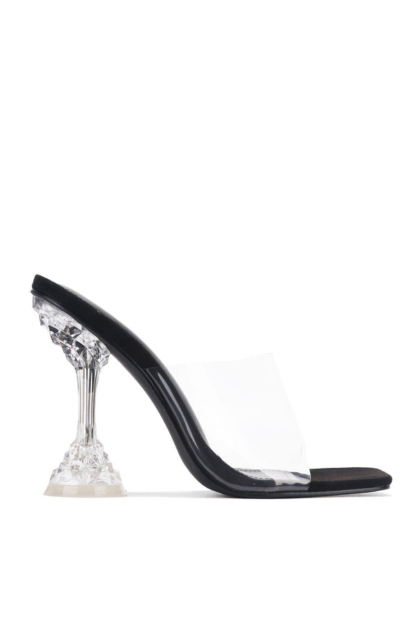 AHMEE SAYING HELLO CLEAR HEEL MULE-BLACK